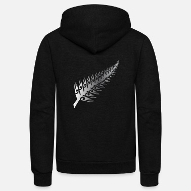 Rugby Silver Fern New Zealand Maori Style - Gift Idea - Unisex Fleece Zip Hoodie