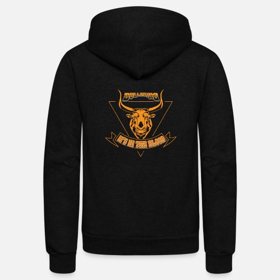 Funny Hoodies & Sweatshirts - Western riding bull blood rodeo american howdy - Unisex Fleece Zip Hoodie black