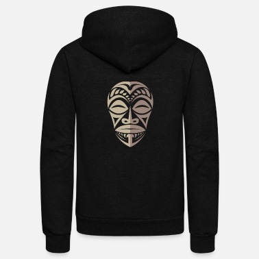 Tatoo Marquesas Tiki Face Polynesian Tribal Tattoo Gift - Unisex Fleece Zip Hoodie