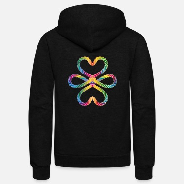 Lucky Charm colorful intertwined cords in rainbow colors - Unisex Fleece Zip Hoodie