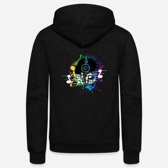 Music Hoodies & Sweatshirts - music abstract - Unisex Fleece Zip Hoodie black