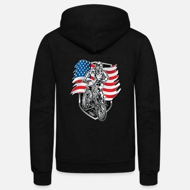 Motocross Motocross USA Flag - Unisex Fleece Zip Hoodie