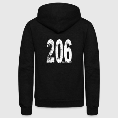 Area Code Vintage Seattle Area Code 206 - Unisex Fleece Zip Hoodie