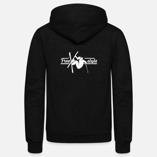 Freestyle Hoodies & Sweatshirts - Freestyle Skier Skiing - Unisex Fleece Zip Hoodie black