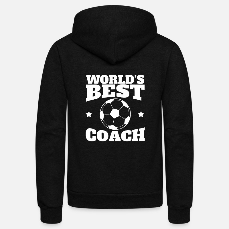 Coach Hoodies & Sweatshirts - World's Best Soccer Coach Graphic - Unisex Fleece Zip Hoodie black
