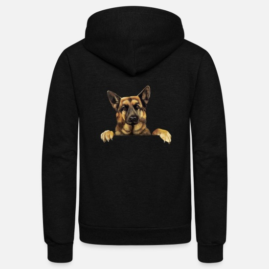 German Hoodies & Sweatshirts - German Shepherd T shirt German Shepherd Power - Unisex Fleece Zip Hoodie black