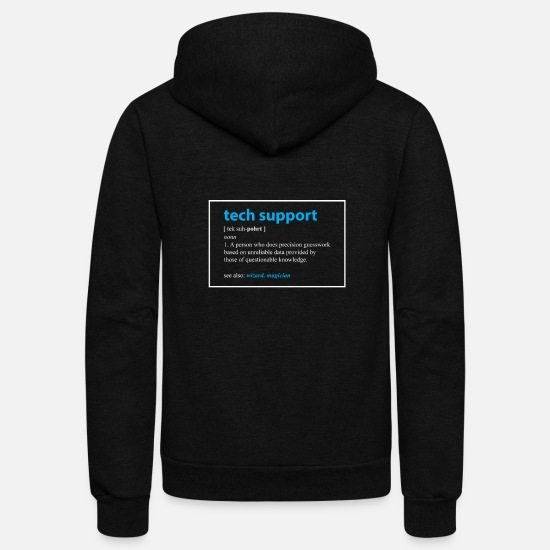 Computer Hoodies & Sweatshirts - Tech Support Gift Definition Funny IT Computer - Unisex Fleece Zip Hoodie black