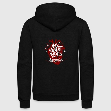 My Heart Beats For Baseball - Unisex Fleece Zip Hoodie