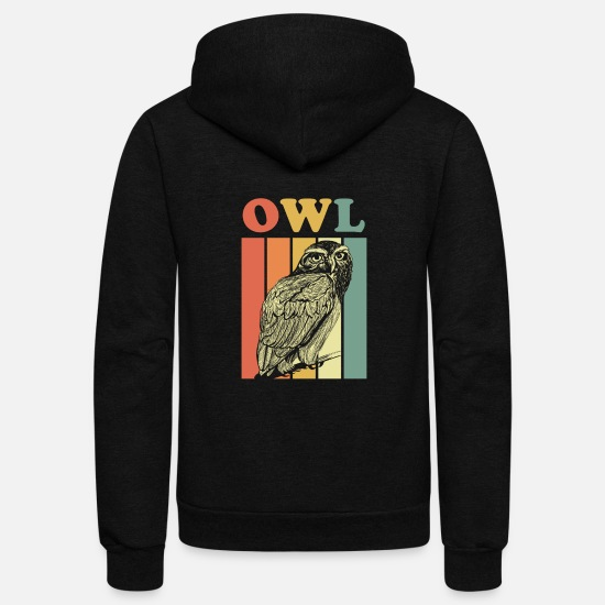 Owl Hoodies & Sweatshirts - Owl - Unisex Fleece Zip Hoodie black