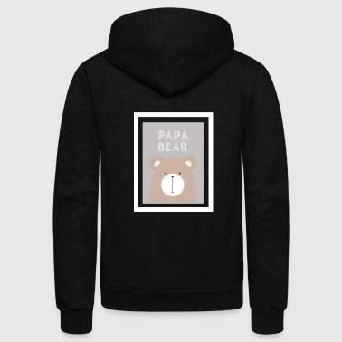 Expectant Fathers Papa Bear - Fathers Day & Expectant Fathers Gift - Unisex Fleece Zip Hoodie