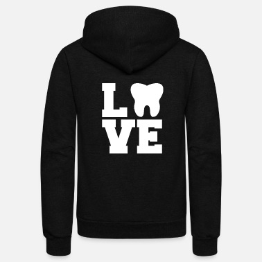 Tooth LOVE Dentist dental nurse assitant gift tooth - Unisex Fleece Zip Hoodie