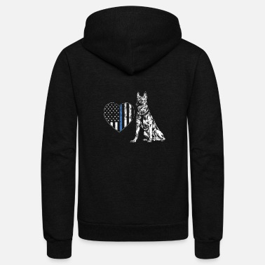Police Dog Police Officer Dog, Thin blue Line Police Officer - Unisex Fleece Zip Hoodie