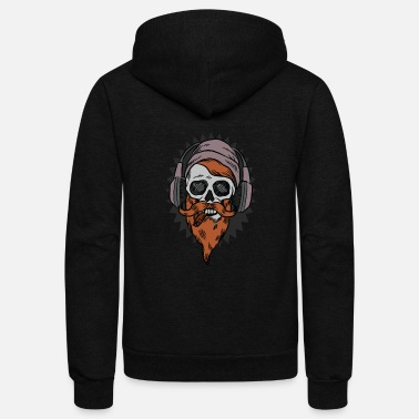Beard Beard Skull Headphone - Unisex Fleece Zip Hoodie