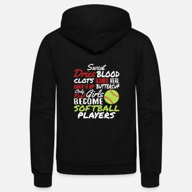 Softball Real Girls Become Softball Players - Unisex Fleece Zip Hoodie