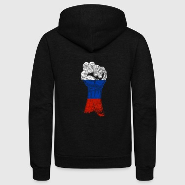 Russia Flag Nation Putin Moscow Gift Idea Fist - Unisex Fleece Zip Hoodie