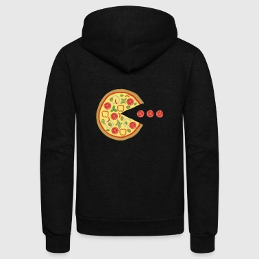 Retro Retro Gaming Pizza Vegetarian - Geek Vintage Shirt - Unisex Fleece Zip Hoodie