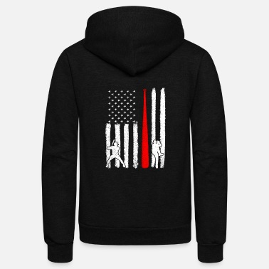 Pitcher Baseball Pitcher Batter American Flag 4th of July - Unisex Fleece Zip Hoodie