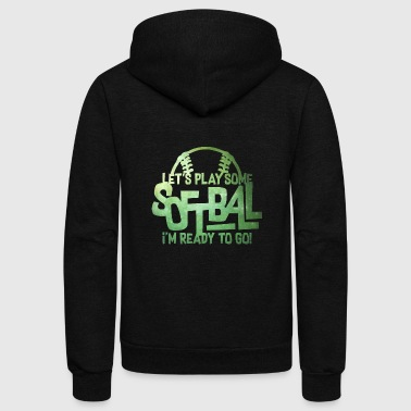 I Love Softball I m Ready To Go - Softball - Total Basics - Unisex Fleece Zip Hoodie