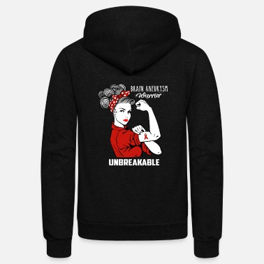 Brain Brain Aneurysm Warrior Unbreakable Awareness - Unisex Fleece Zip Hoodie