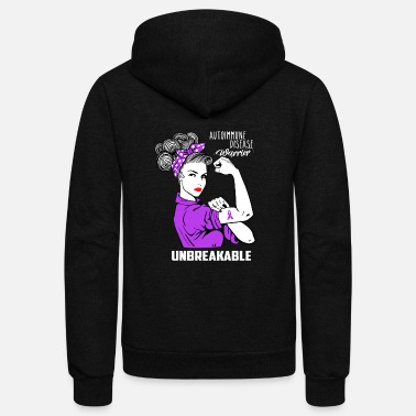 Disease Autoimmune disease Warrior Unbreakable Awareness - Unisex Fleece Zip Hoodie