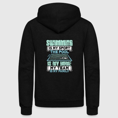 QUOTE: Swimming is my Sport - Unisex Fleece Zip Hoodie