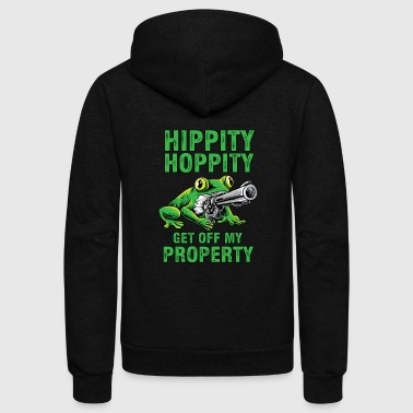 Dank Hippity Hoppity get off my property guns shirt - Unisex Fleece Zip Hoodie