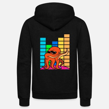Dj-octopus-music Dabbing Dab Octopus Disco Party Music Discothek - Unisex Fleece Zip Hoodie
