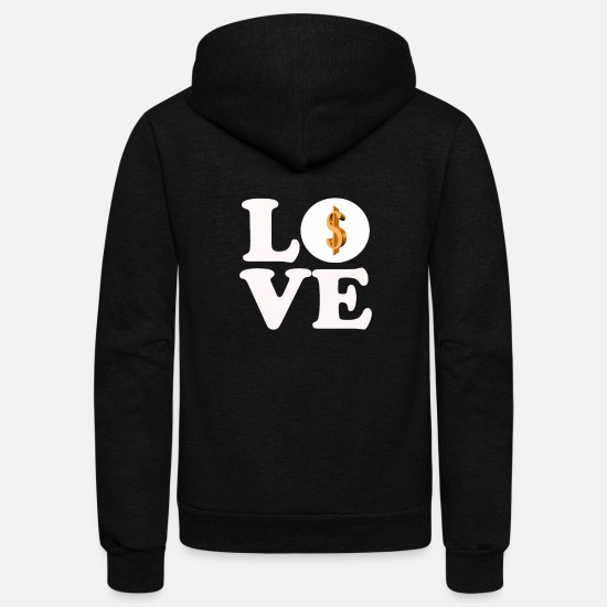 Dollar Hoodies & Sweatshirts - love dollar - Unisex Fleece Zip Hoodie black