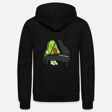 Lamb Avocado Playing The Piano - Unisex Fleece Zip Hoodie