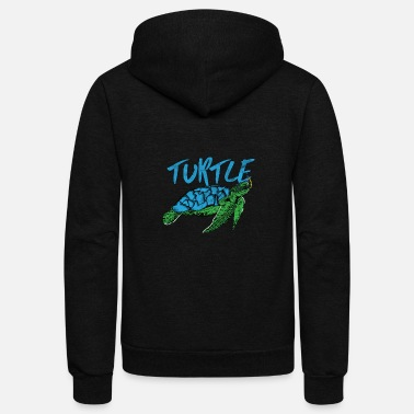 Save Animal Print - Blue Turtle - Unisex Fleece Zip Hoodie