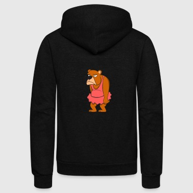 Ballet bear animal Sad dress funny - Unisex Fleece Zip Hoodie