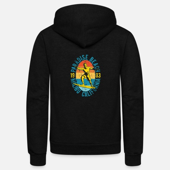 Vintage Hoodies & Sweatshirts - Vintage Surf California long beach - Unisex Fleece Zip Hoodie black