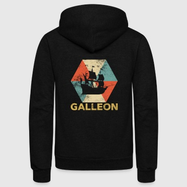 Vintage Polygon Galleon - Unisex Fleece Zip Hoodie