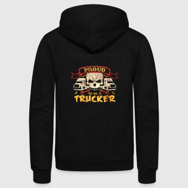 Proud to Be a Trucker Gifts Shirt - Unisex Fleece Zip Hoodie