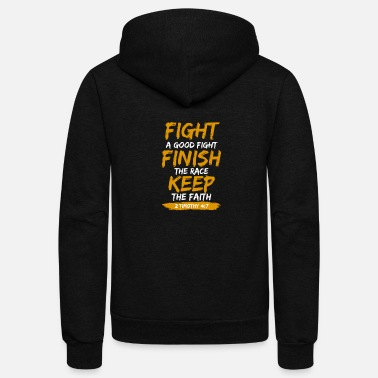 Bible Fight the Good Fight, Christian, Bible Verse, God - Unisex Fleece Zip Hoodie