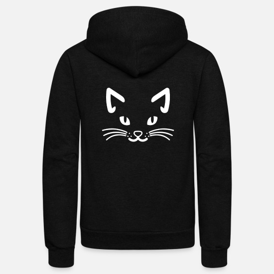 Cat Hoodies & Sweatshirts - Cat Face Black Cat - Unisex Fleece Zip Hoodie black