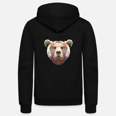 Brown Bear baer grizzly big head california vector brown baer - Unisex Fleece Zip Hoodie