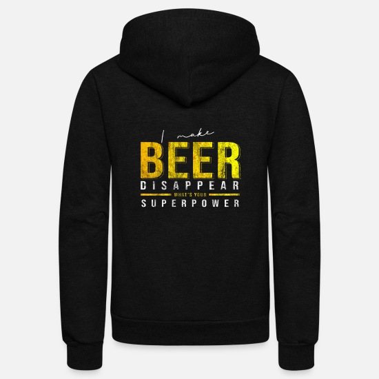 Alcohol Hoodies & Sweatshirts - Beer drink superpower liquor - Unisex Fleece Zip Hoodie black