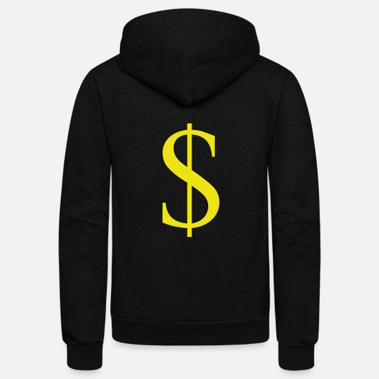 Usa Hoodies & Sweatshirts - $, dollar sign, US currency, dollar, US dollar - Unisex Fleece Zip Hoodie black