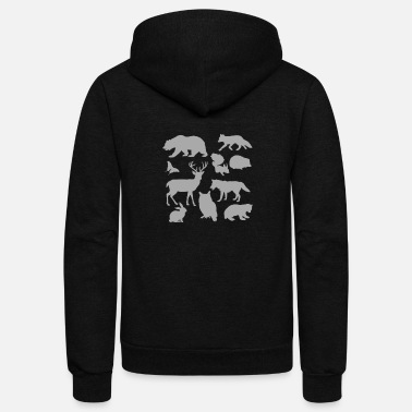 Silhouette Animal Figurines graphic Animal Silhouettes design - Unisex Fleece Zip Hoodie