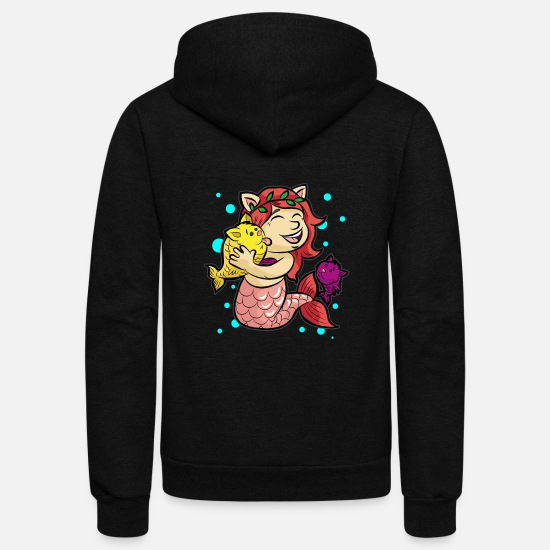 Animal Hoodies & Sweatshirts - MERMAID KITTIES Cat Cats Water Under the Sea Gift - Unisex Fleece Zip Hoodie black