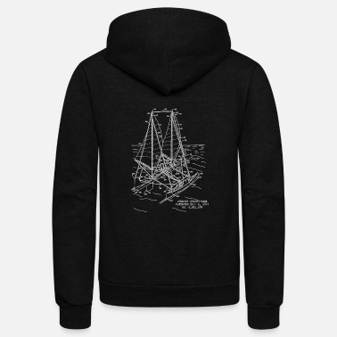 Sailboat Blueprint - Unisex Fleece Zip Hoodie