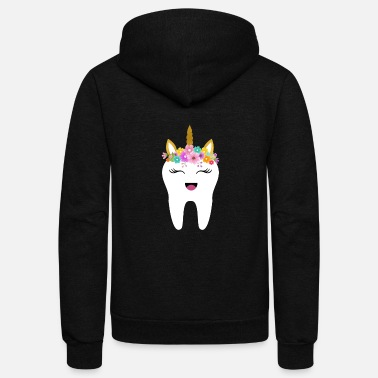 Tooth Tooth Unicorn Cute - Unisex Fleece Zip Hoodie