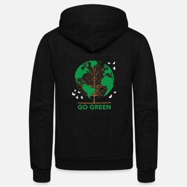 Enviromental Green Planet Go Green Earth Plants - Unisex Fleece Zip Hoodie