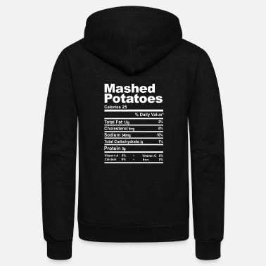 Turkey Mashed Potatoes Nutrition Facts Thanksgiving - Unisex Fleece Zip Hoodie