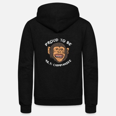 Chimpanzee Funny Evolution, Funny Science, Natural Selection - Unisex Fleece Zip Hoodie