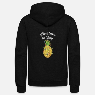 Elf Christmas In July Pineapple Xmas Tree Lights - Unisex Fleece Zip Hoodie