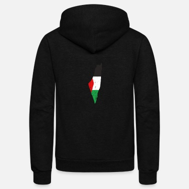 Map The Palestine Map And Flag - Falastine Wants - Unisex Fleece Zip Hoodie