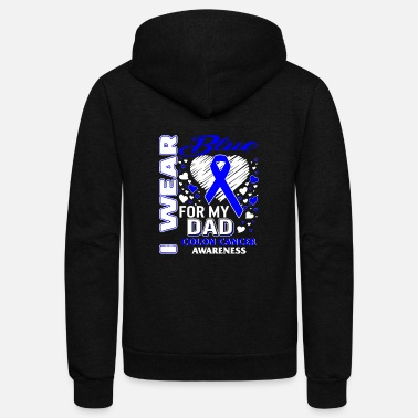 I Heart I Wear Blue For My Dad Colon Cancer Awareness - Unisex Fleece Zip Hoodie
