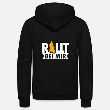 Cult Rolls with me retro moped motorcycle moped driver - Unisex Fleece Zip Hoodie